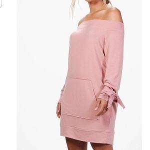 Boohoo Plus Off Shoulder Blush Dress